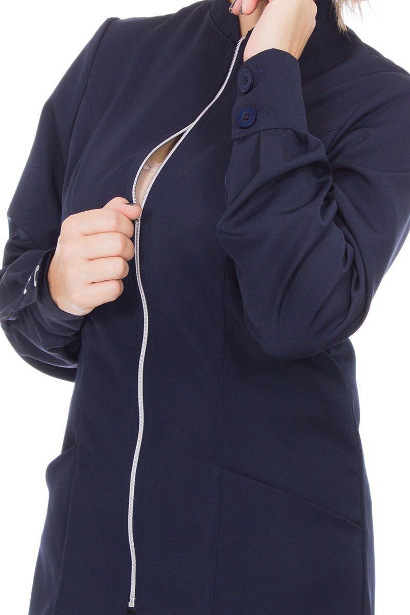 Jaleco feminino com gola de padre - Modelo Cristalle Azul Marinho