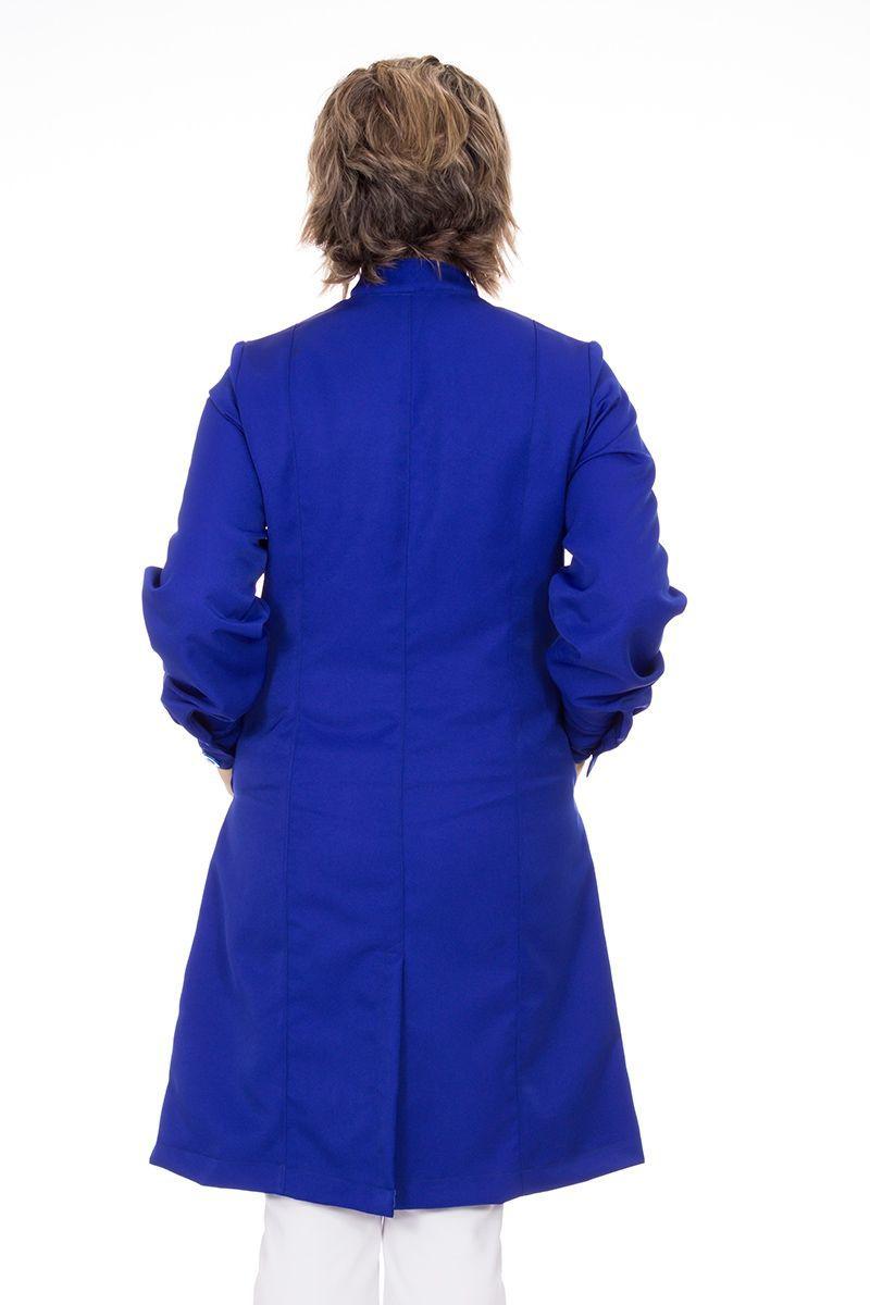 Jaleco feminino com gola de padre - Modelo Cristalle Azul Royal
