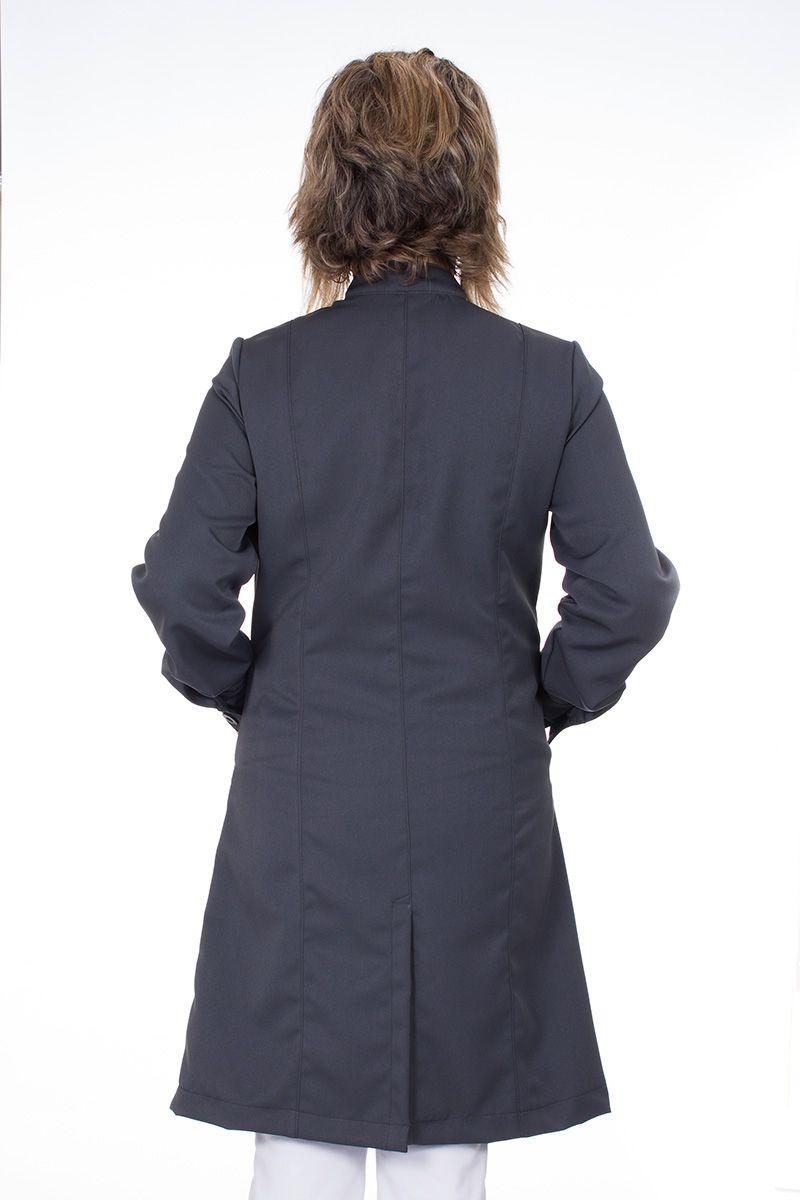 Jaleco feminino com gola de padre - Modelo Cristalle Cinza Chumbo