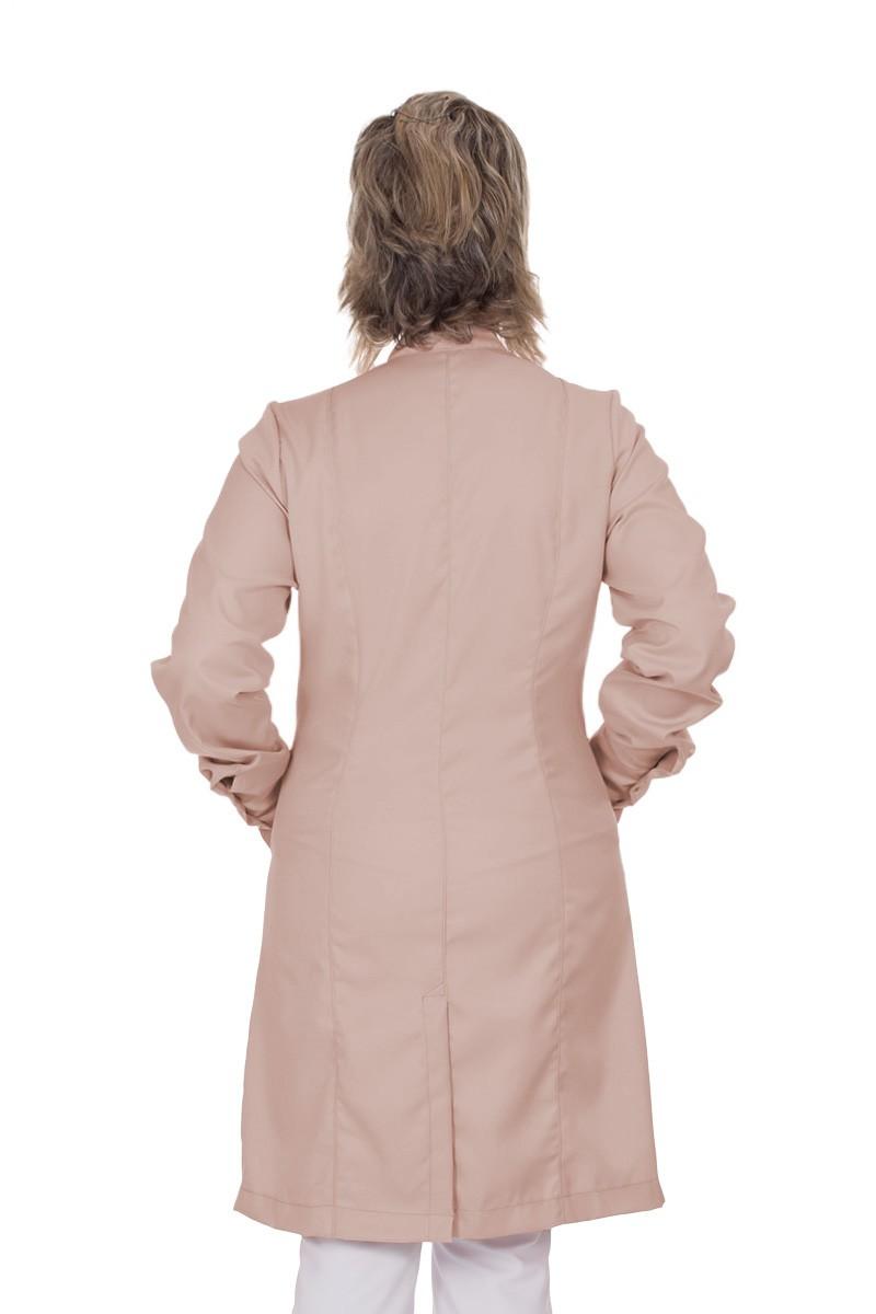 Jaleco feminino com gola de padre - Modelo Cristalle Nude