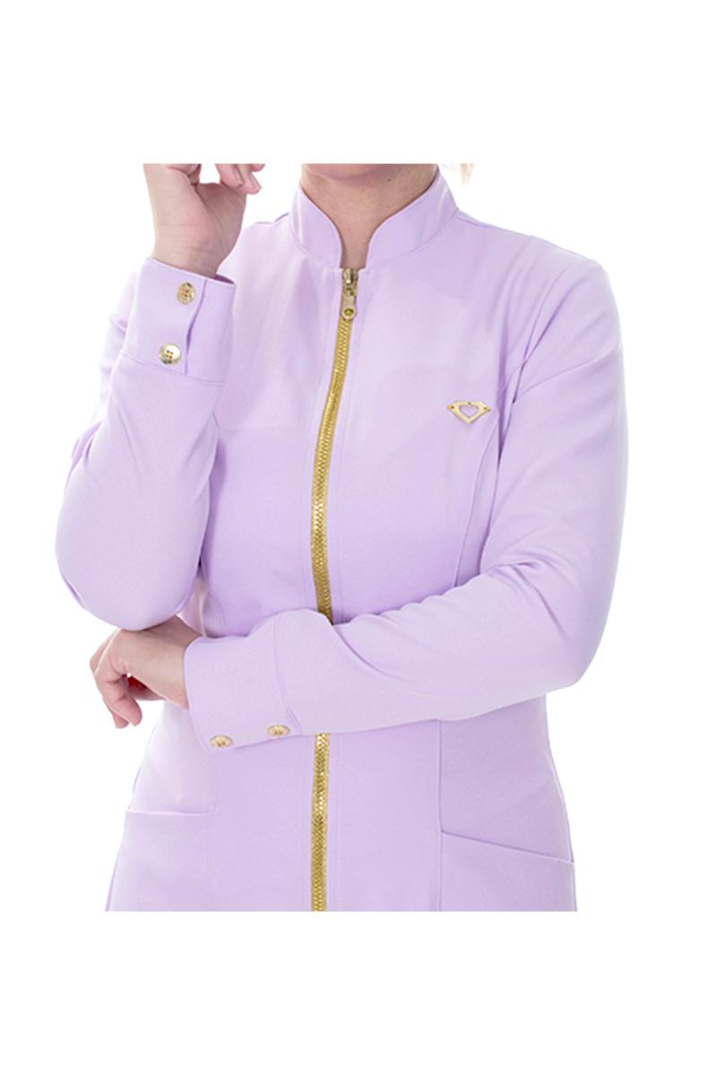 Jaleco feminino com gola de padre - Modelo Dhara Lavanda