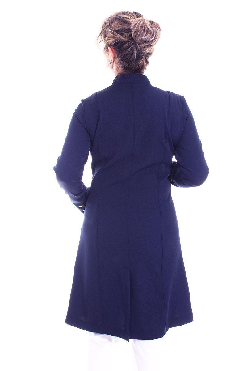 Jaleco feminino com gola de padre - Modelo Dhara Marinho