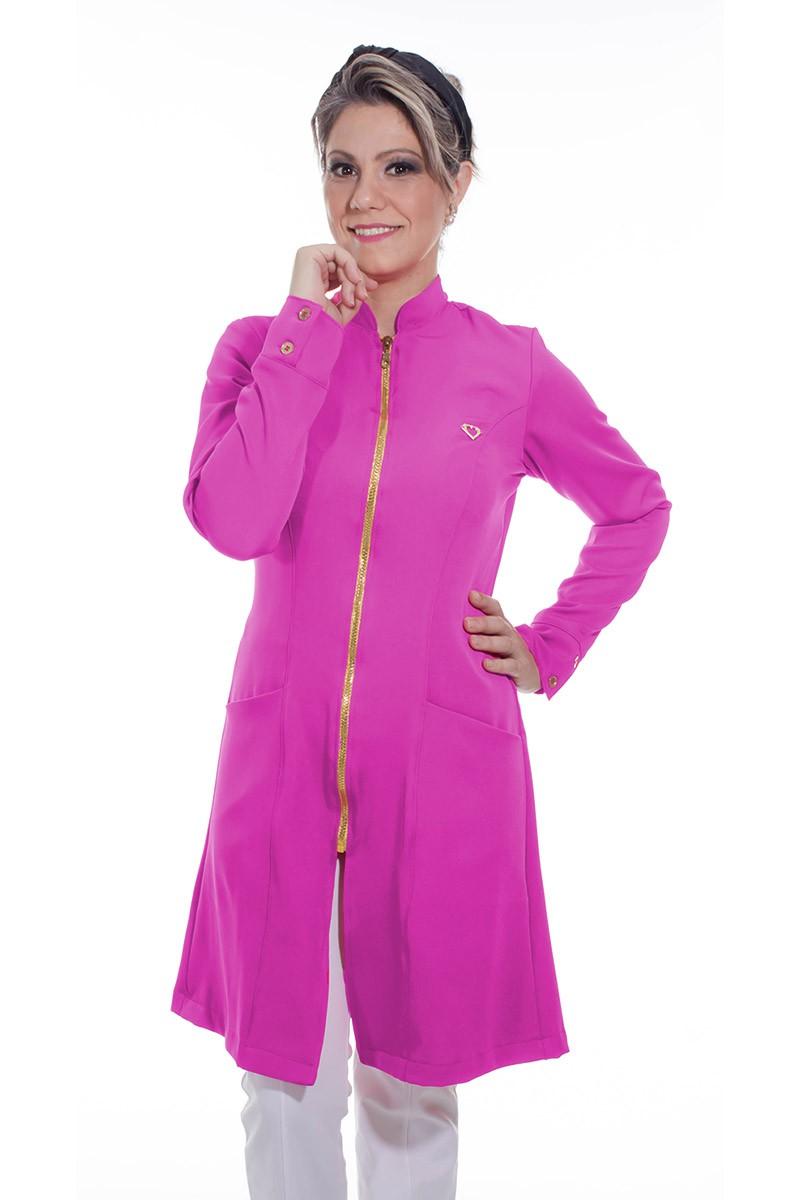 Jaleco feminino com gola de padre - Modelo Dhara Pink