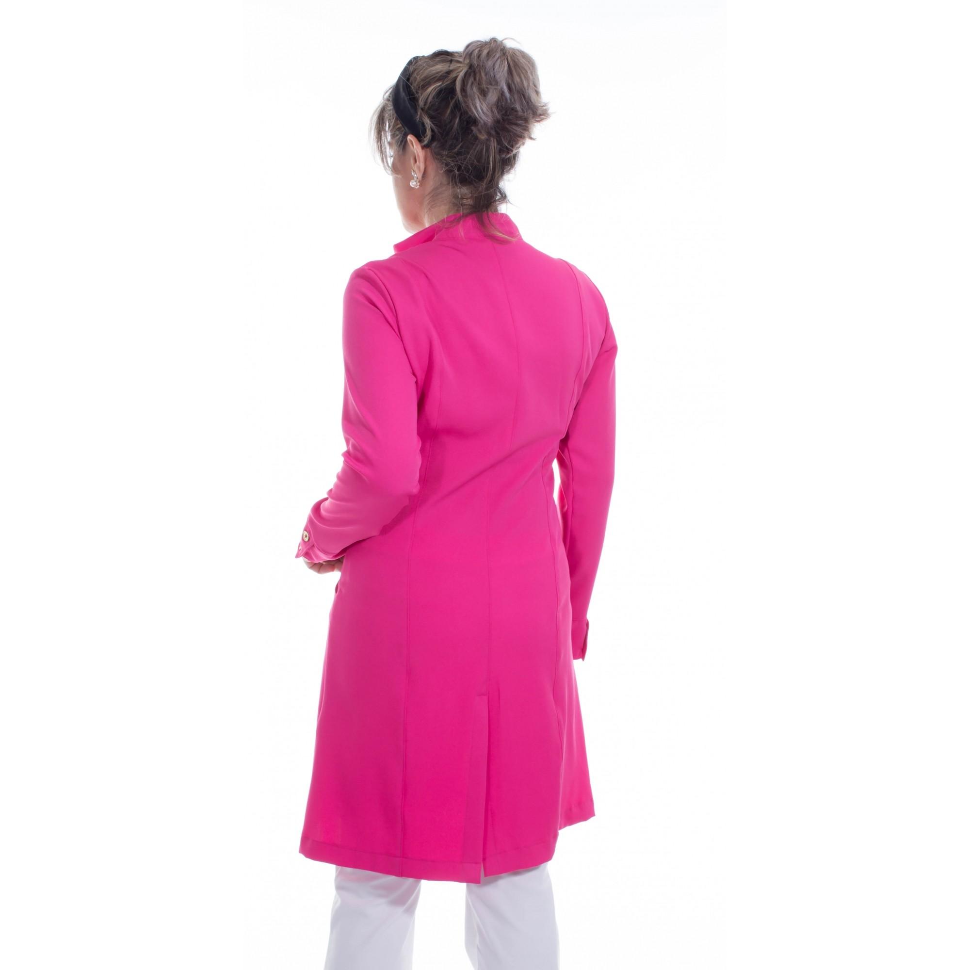 Jaleco feminino com gola de padre - Modelo Dhara Pink  - Inform Jalecos