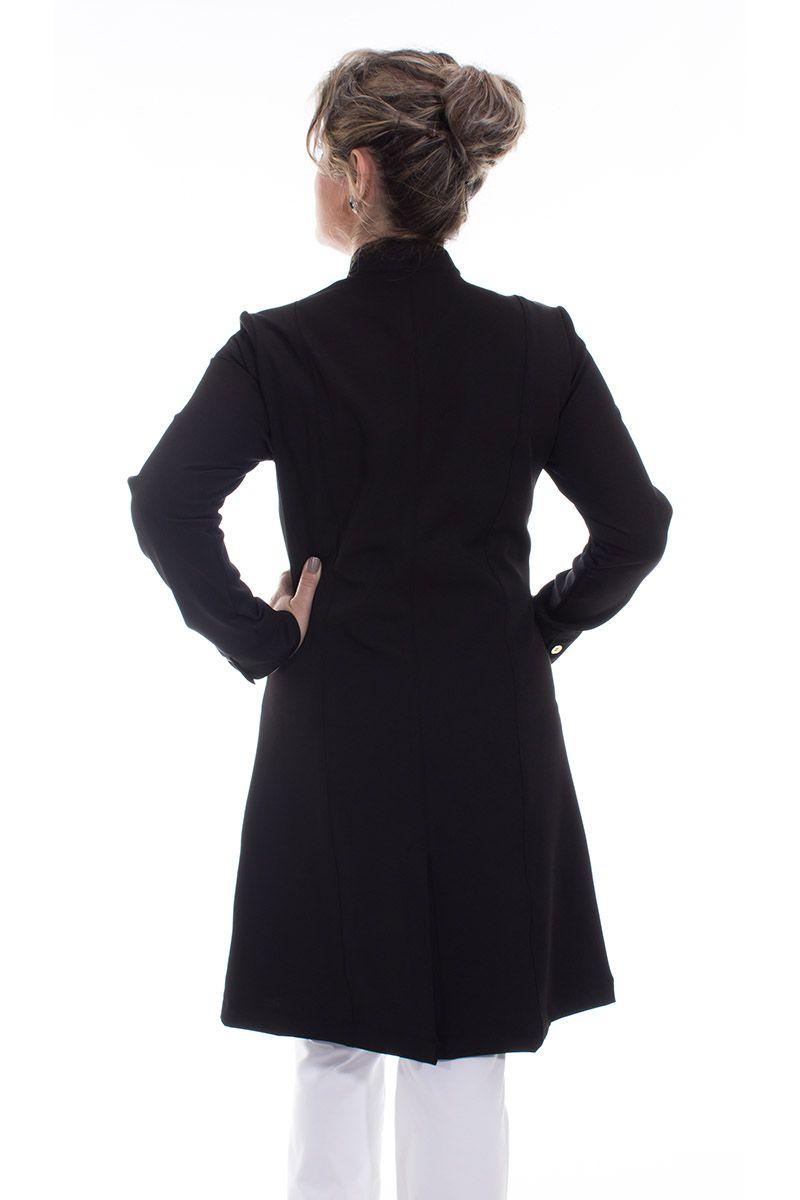 Jaleco feminino com gola de padre - Modelo Dhara Preto