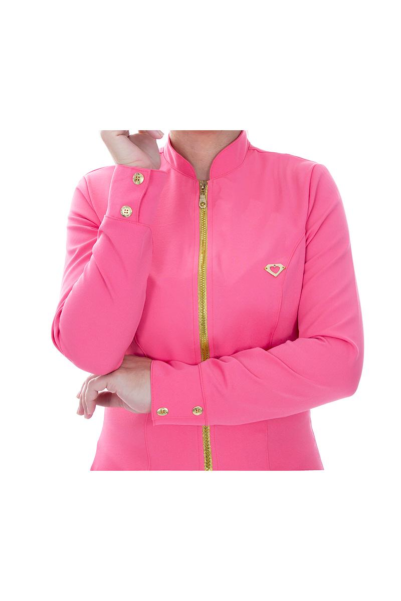 Jaleco feminino com gola de padre - Modelo Dhara Rosa Danone