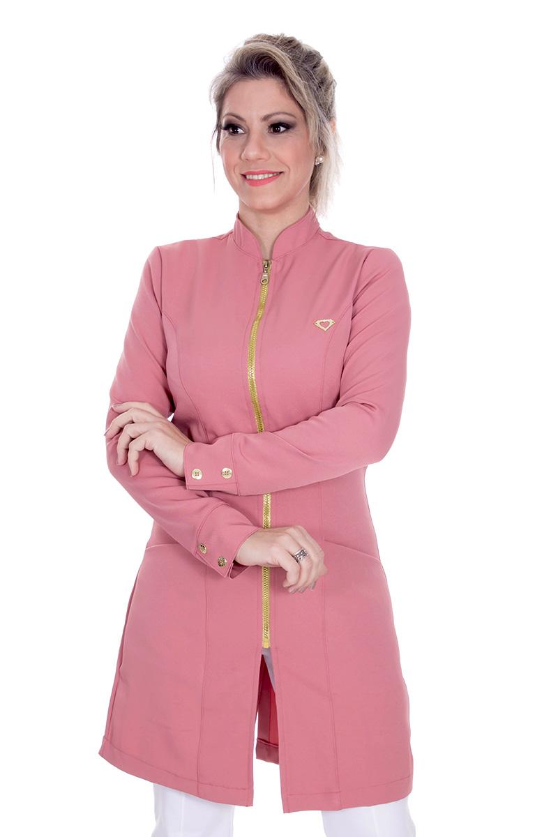 Jaleco feminino com gola de padre - Modelo Dhara Rose  - Inform Jalecos
