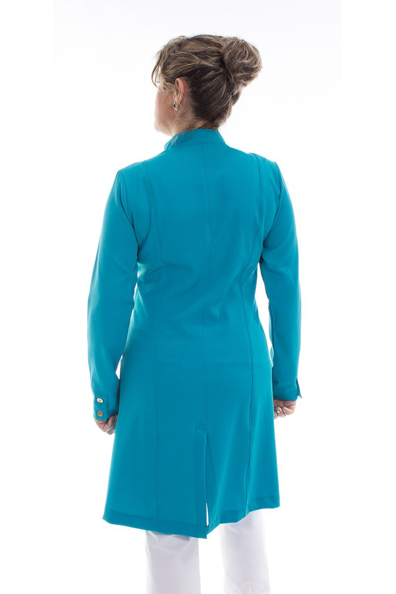 Jaleco feminino com gola de padre - Modelo Dhara Turquesa