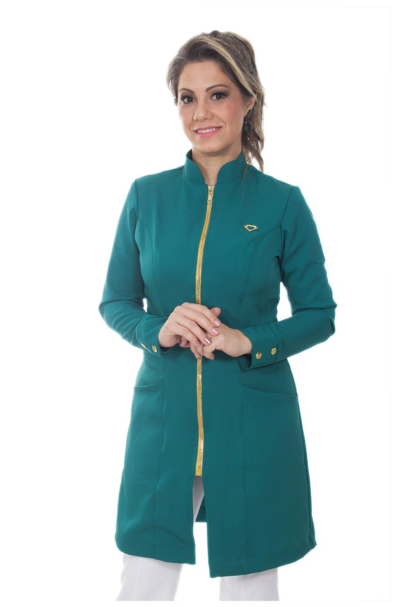 Jaleco feminino com gola de padre - Modelo Dhara Verde Esmeralda