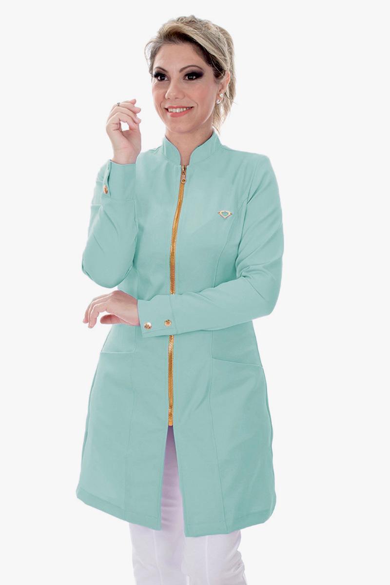 Jaleco feminino com gola de padre - Modelo Dhara Verde Menta  - Inform Jalecos