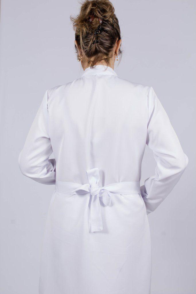 Jaleco feminino com gola de padre - Modelo Diamante Branco