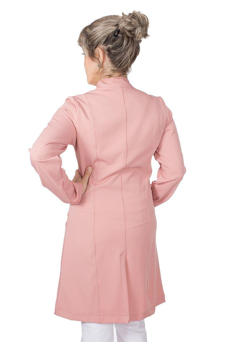 Jaleco feminino com gola de padre - Modelo Fany Rose Vintage