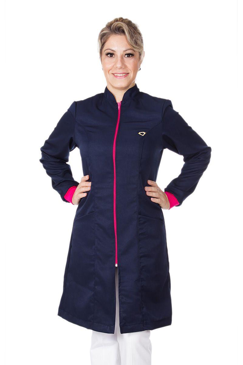 Jaleco feminino com gola de padre - Modelo Tynna Azul Marinho com Pink
