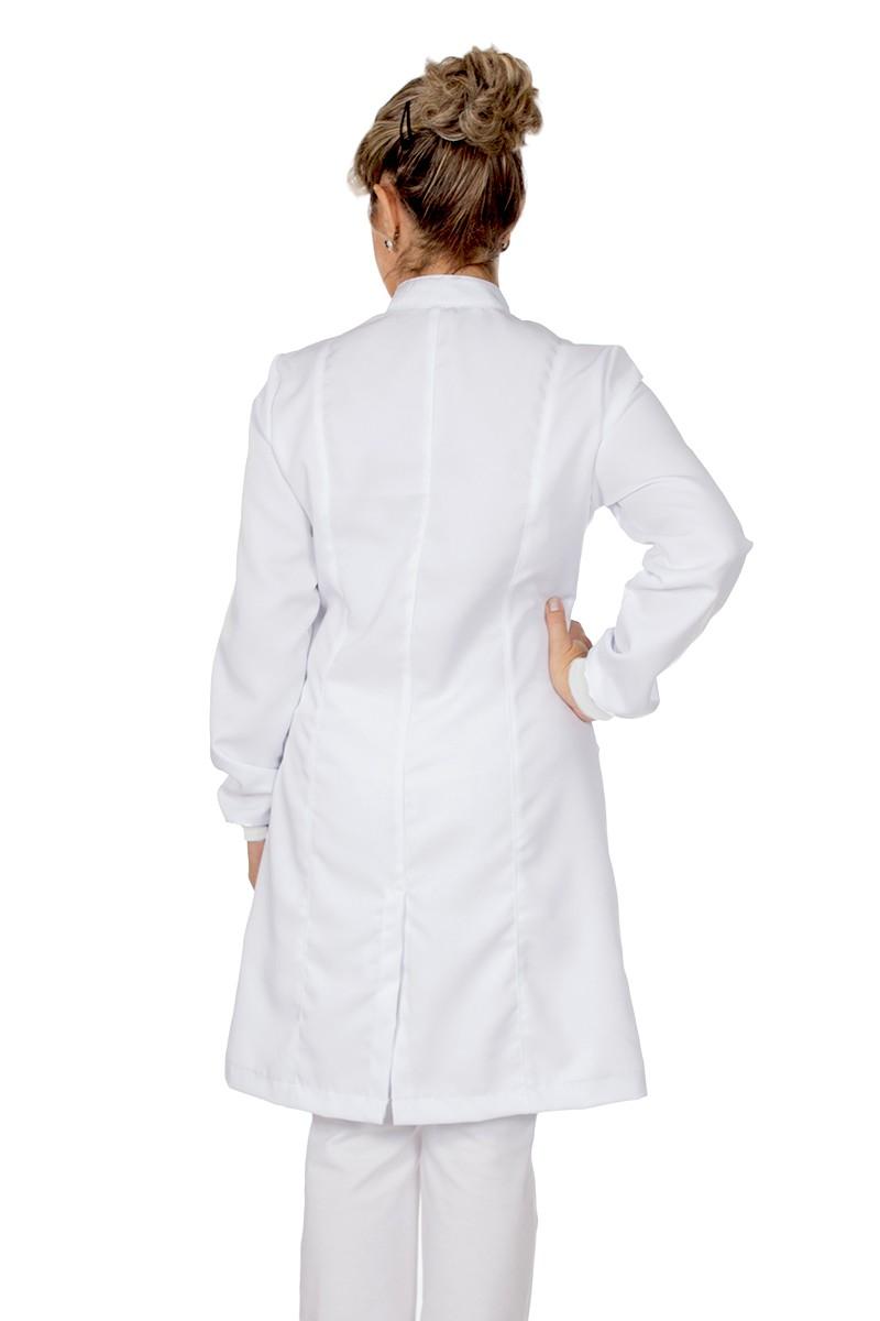 Jaleco feminino com gola de padre - Modelo Tynna Branco