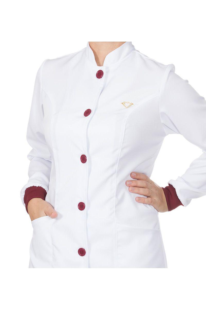 Jaleco feminino gola de padre e detalhes coloridos - Modelo Elegans Branco com Bordô  - Inform Jalecos
