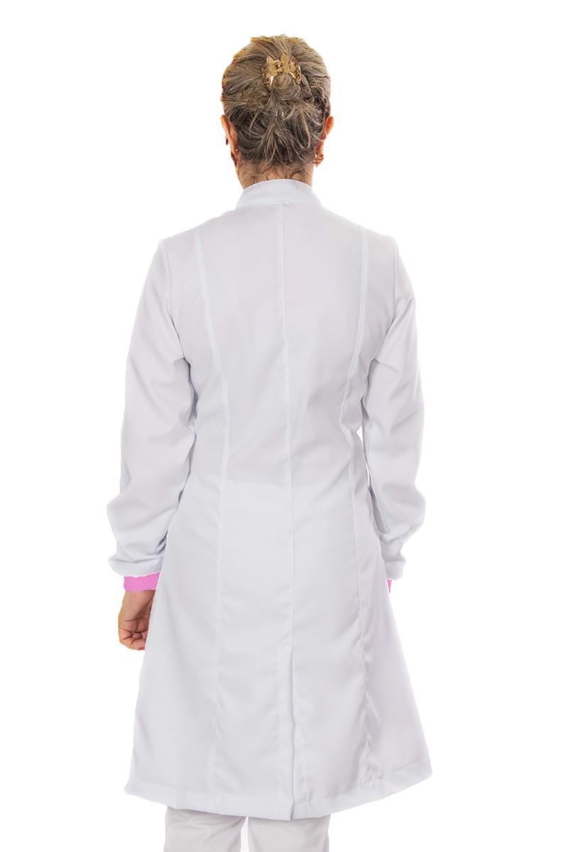 Jaleco feminino gola de padre e detalhes coloridos - Modelo Elegans Branco com Rosa Chiclete
