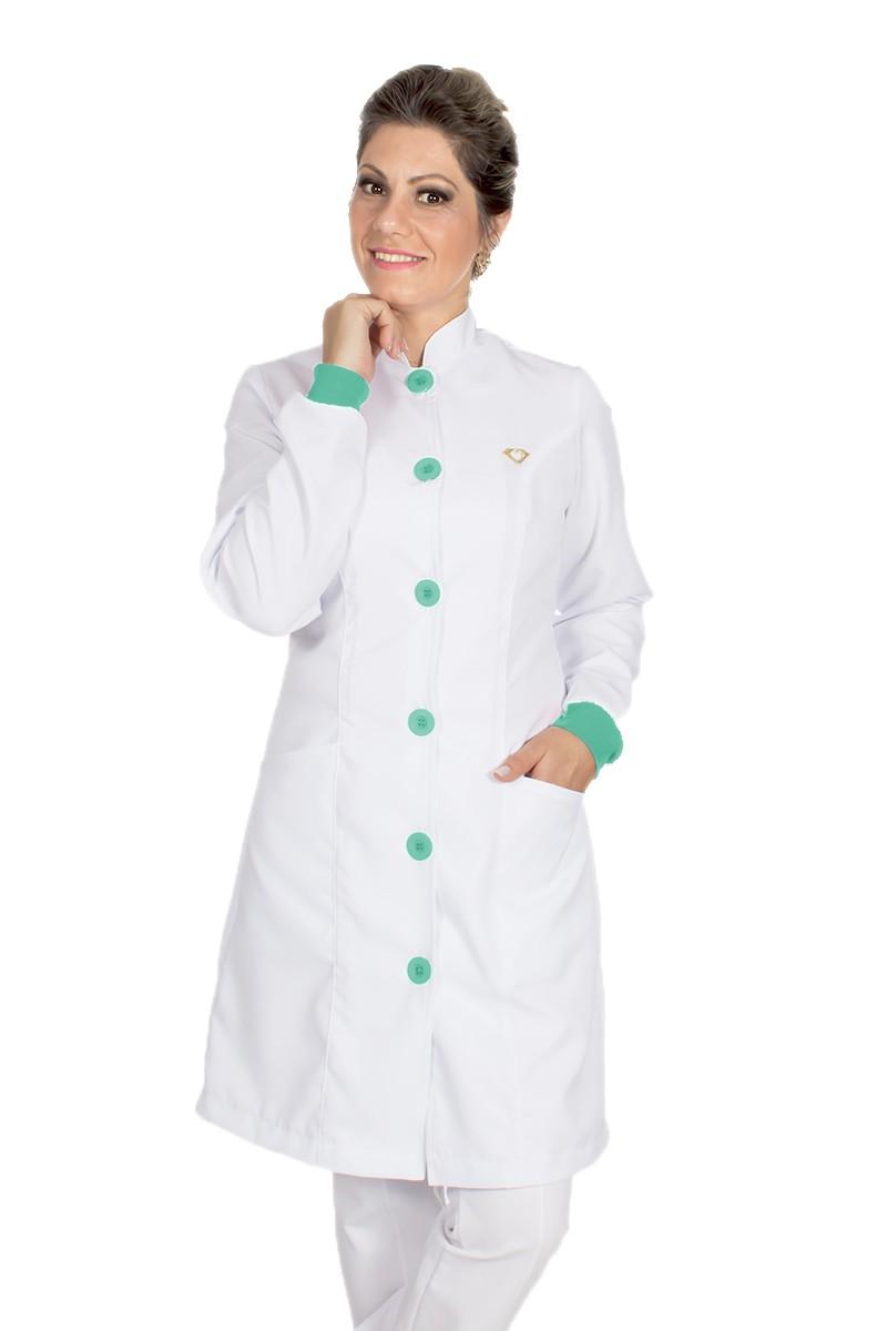 Jaleco feminino gola de padre e detalhes coloridos - Modelo Elegans Branco com Verde Menta