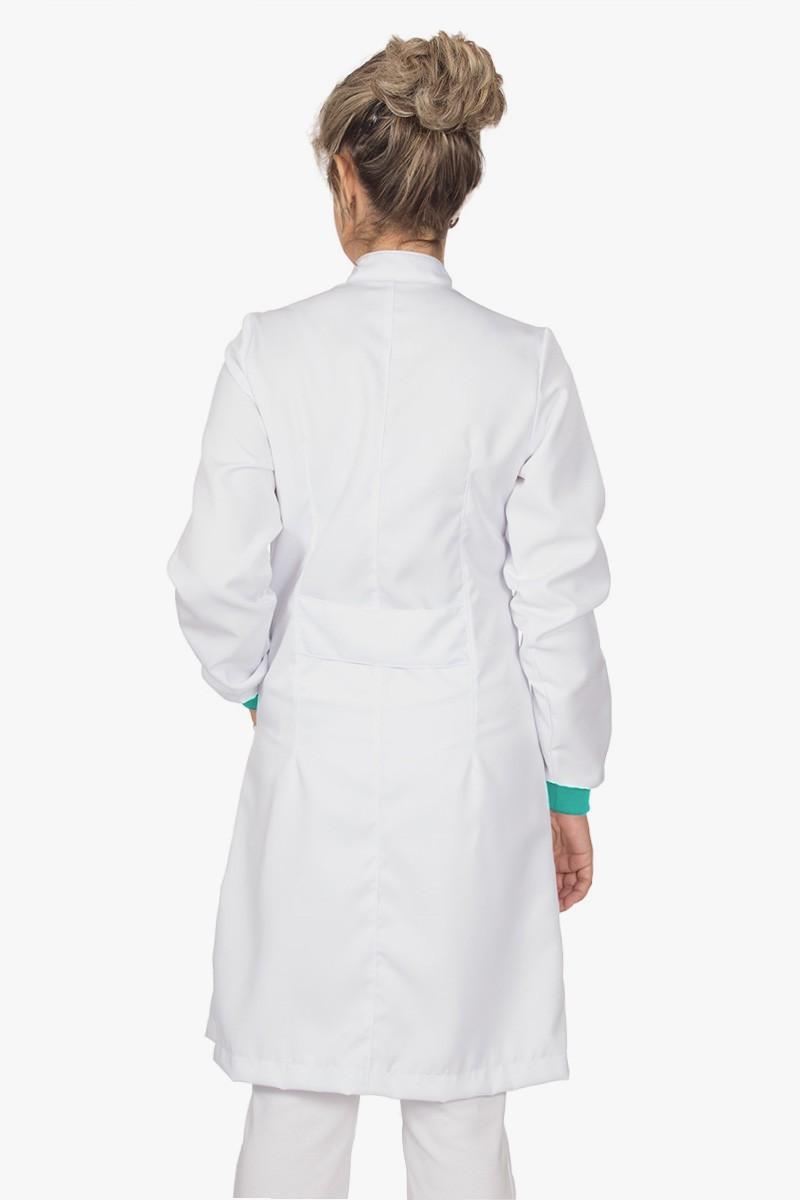 Jaleco feminino gola de padre e detalhes coloridos - Modelo Elegans Branco com Verde Menta  - Inform Jalecos