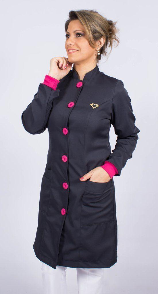 Jaleco feminino gola de padre e detalhes coloridos - Modelo Elegans Chumbo
