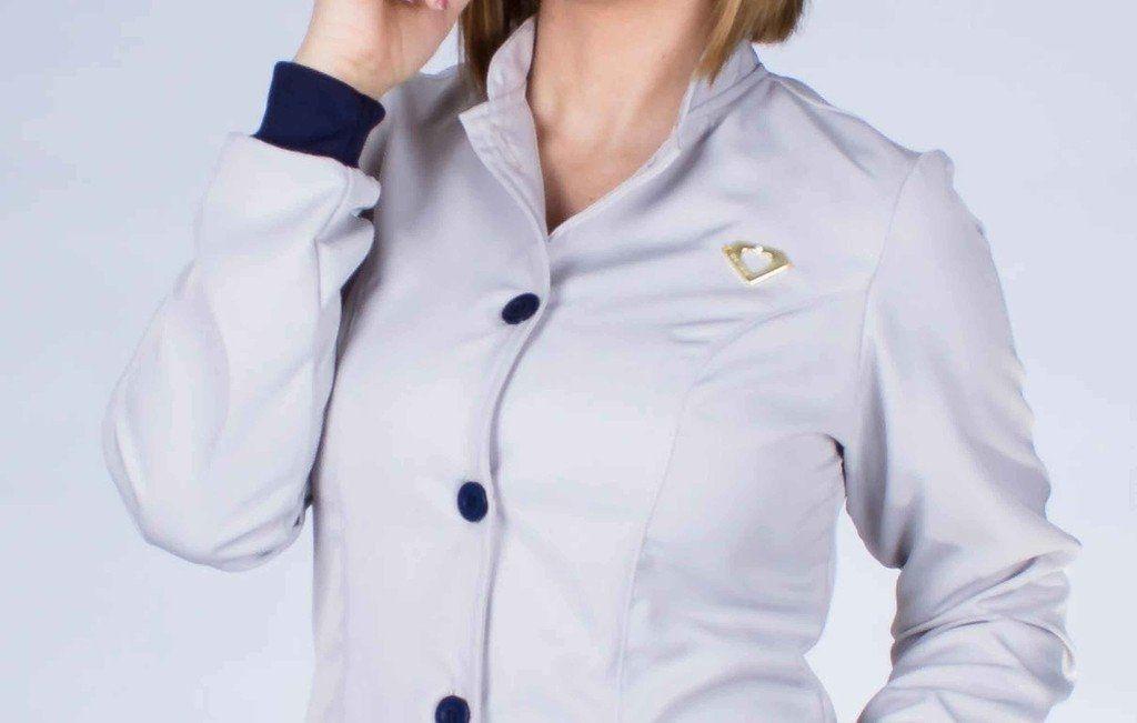 Jaleco feminino gola de padre e detalhes coloridos - Modelo Elegans Marinho