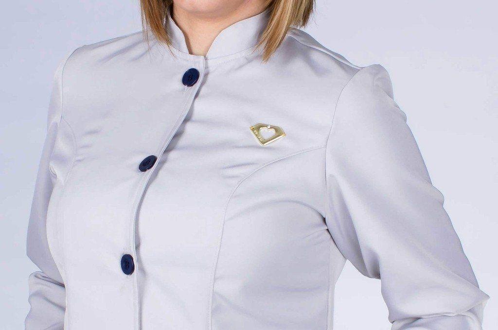 Jaleco feminino gola de padre e detalhes coloridos - Modelo Elegans Cinza com Marinho