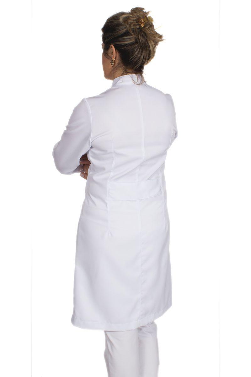 Jaleco feminino gola de padre e detalhes coloridos - Modelo Elegans Branco com Pink