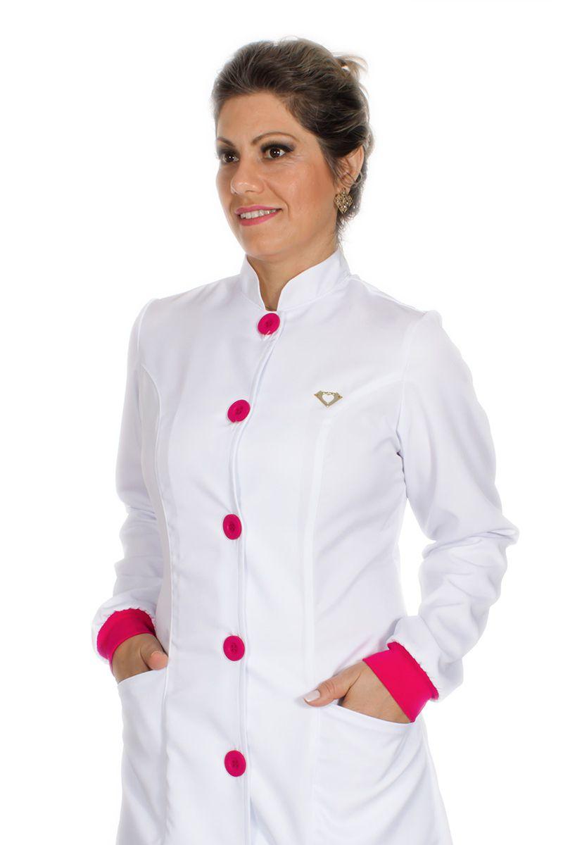 Jaleco feminino gola de padre e detalhes coloridos - Modelo Elegans Pink