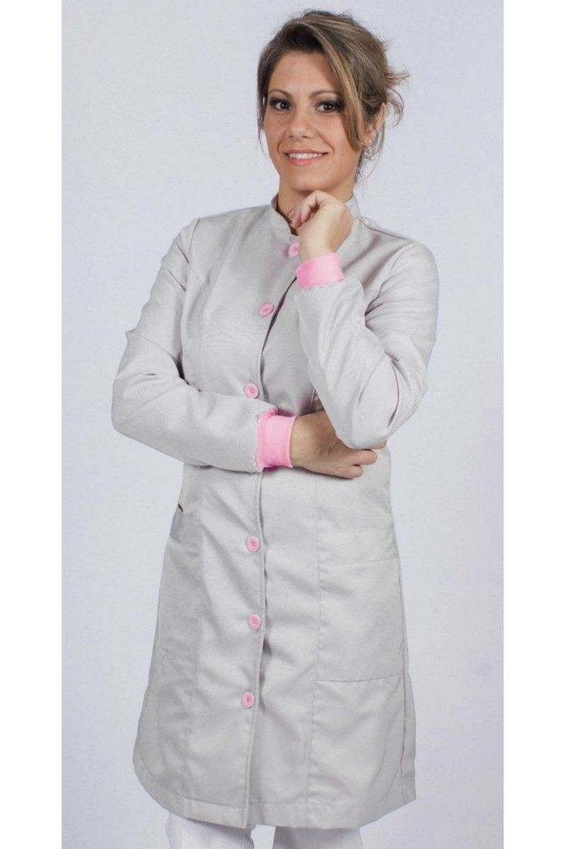Jaleco feminino gola de padre e detalhes coloridos - Modelo Elegans Rosa