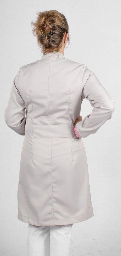 Jaleco feminino gola de padre e detalhes coloridos - Modelo Elegans Cinza com Rosa
