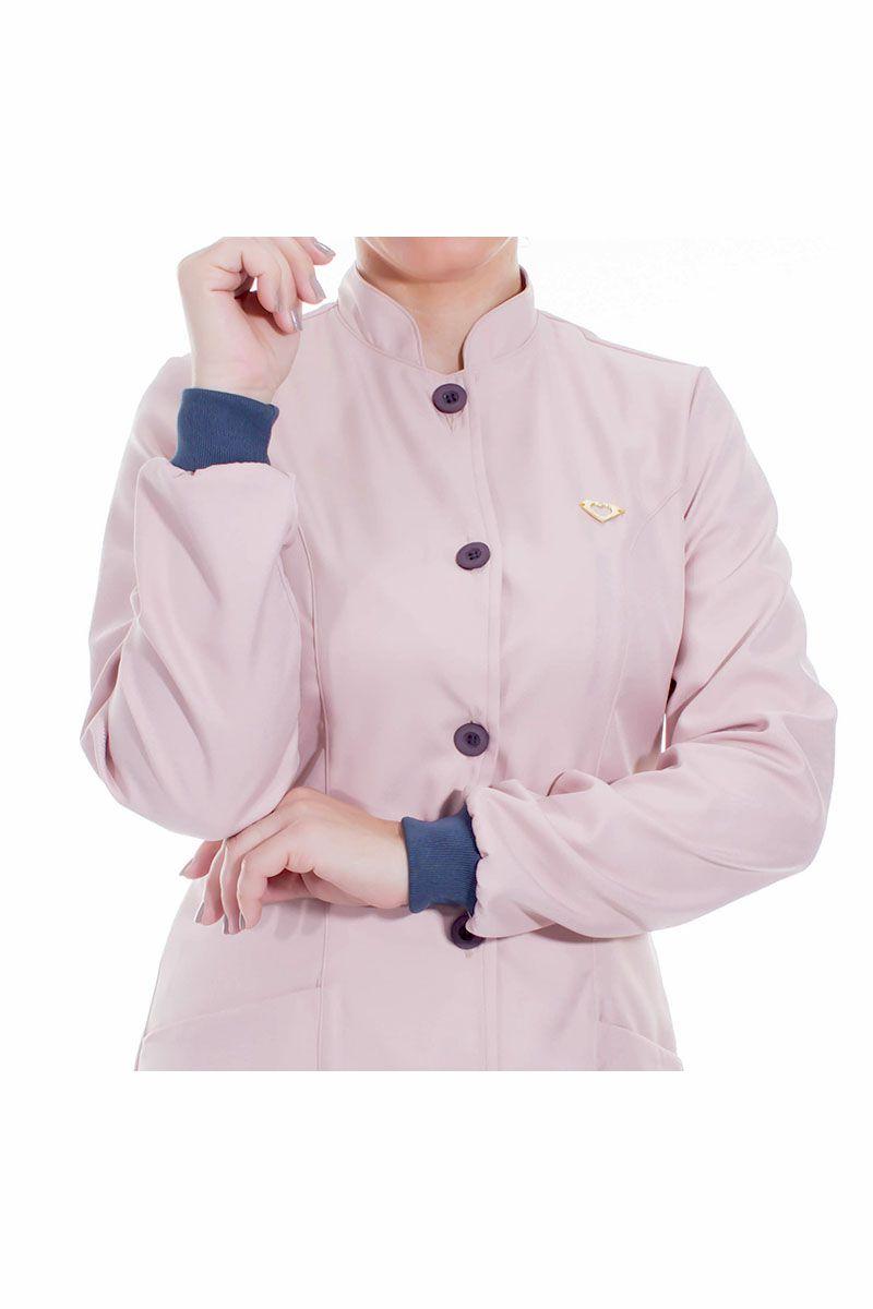 Jaleco feminino gola de padre e detalhes coloridos - Modelo Elegans Rosê