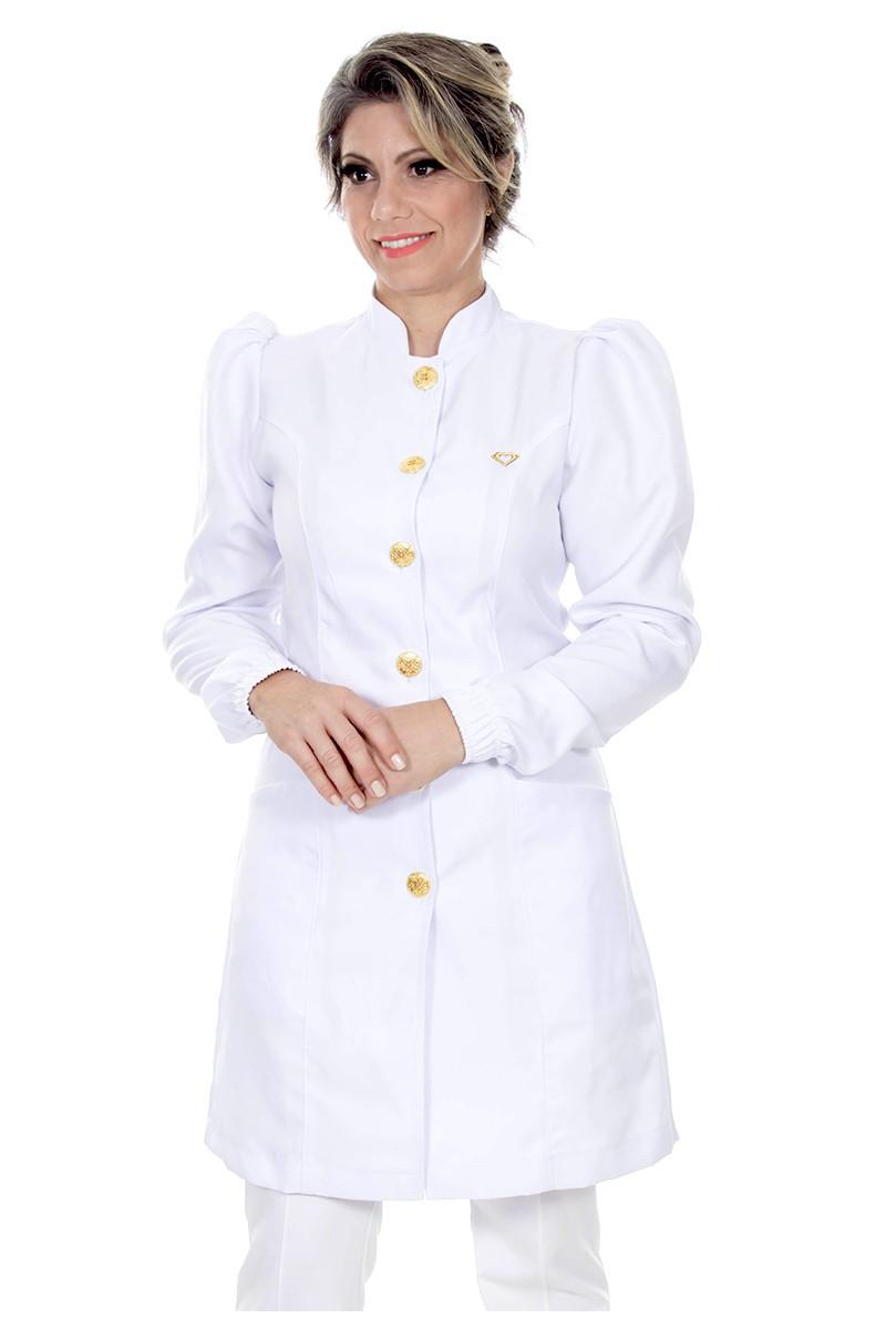 Jaleco feminino gola de padre - Modelo Dafiny Branco