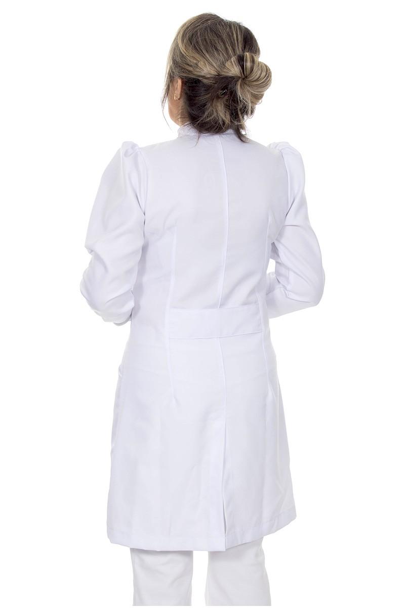 Jaleco feminino gola de padre - Modelo Dafiny Branco Neve