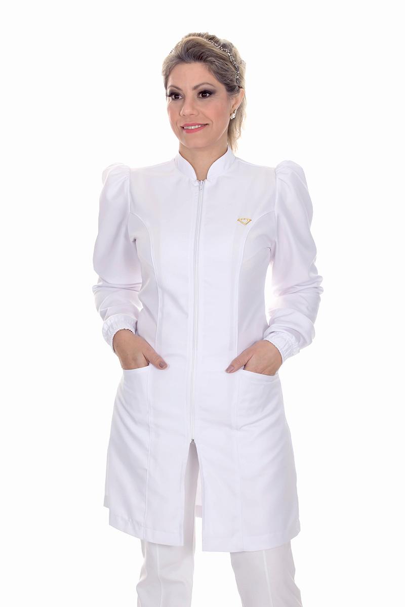 Jaleco feminino gola de padre - Modelo Dafiny Branco Zíper  - Inform Jalecos
