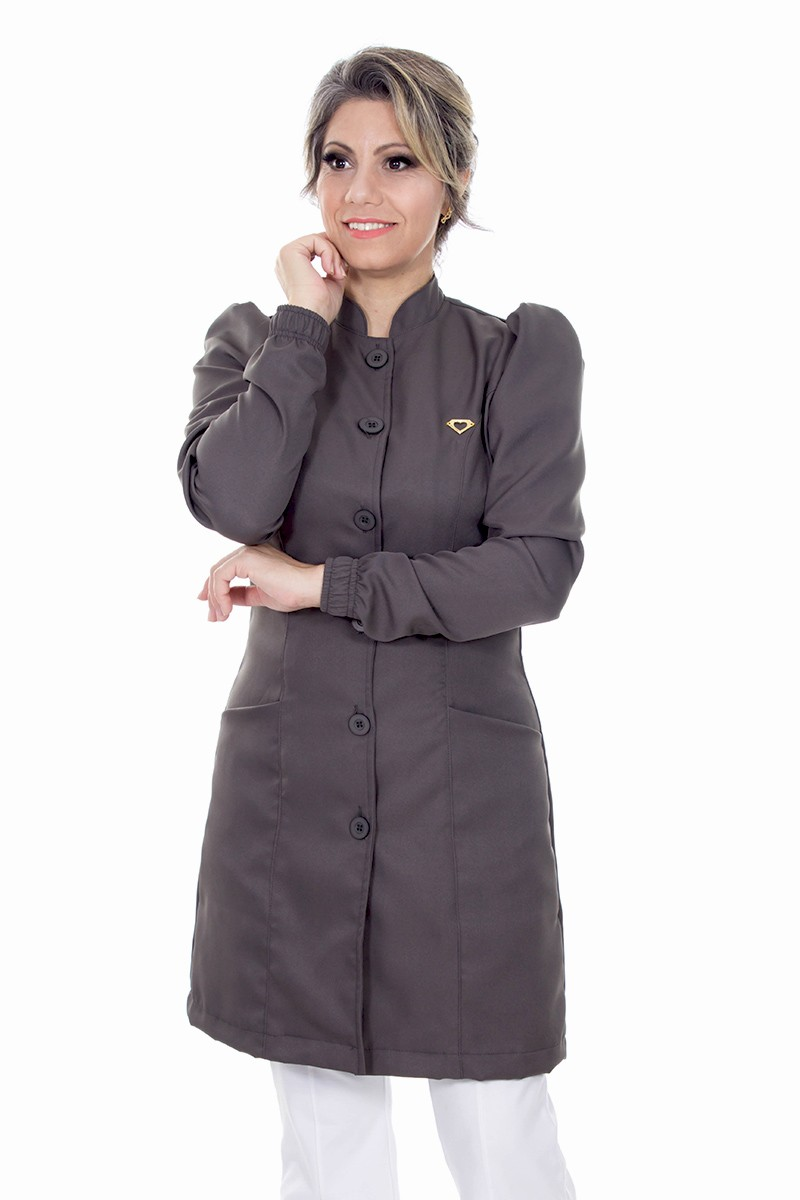 Jaleco feminino gola de padre - Modelo Dafiny Cinza