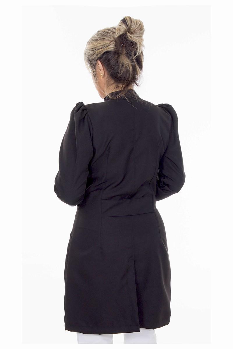 Jaleco feminino gola de padre - Modelo Dafiny Preto