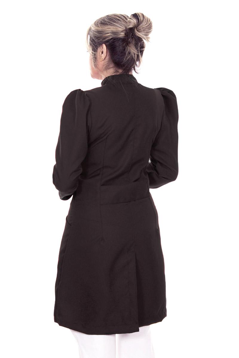 Jaleco feminino gola de padre - Modelo Dafiny Preto Zíper  - Inform Jalecos