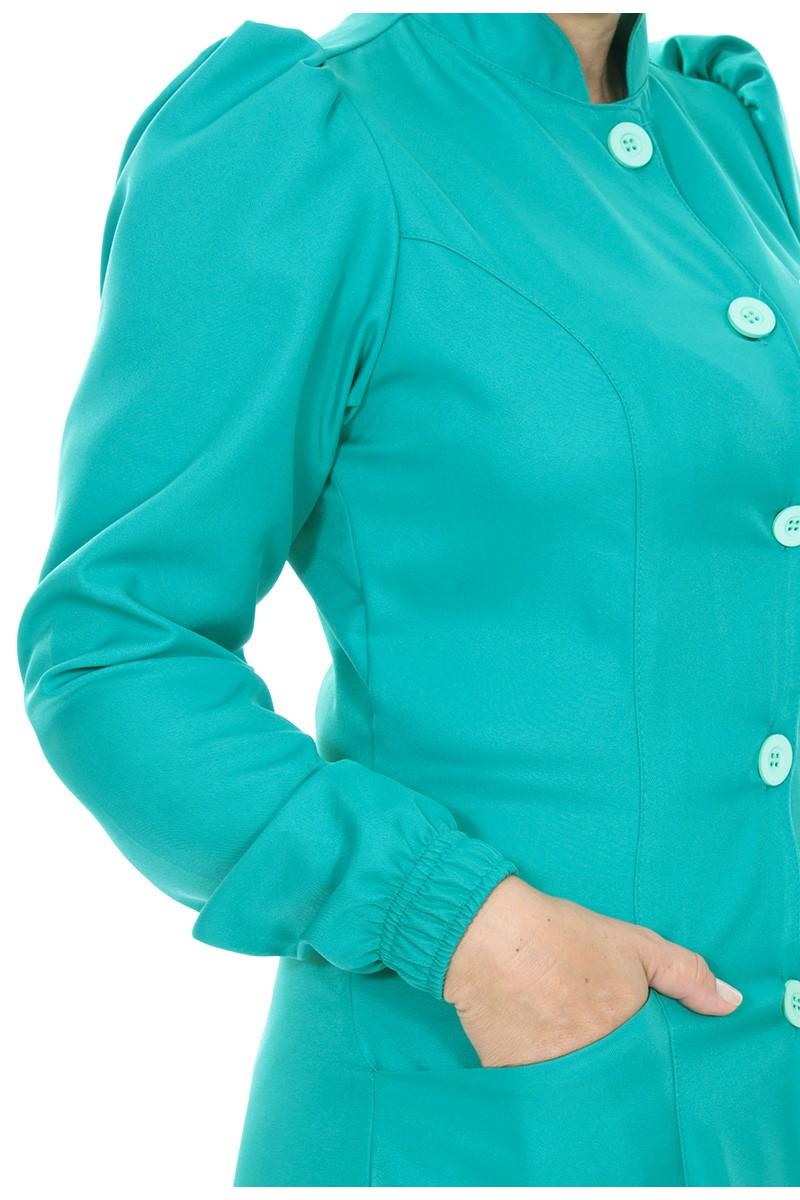 Jaleco feminino gola de padre - Modelo Dafiny Turquesa