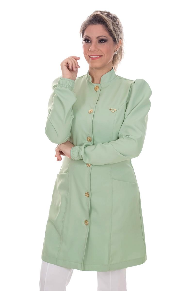 Jaleco feminino gola de padre - Modelo Dafiny Verde Malva  - Inform Jalecos