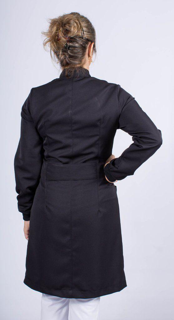 Jaleco feminino gola de padre - Modelo Nero Preto