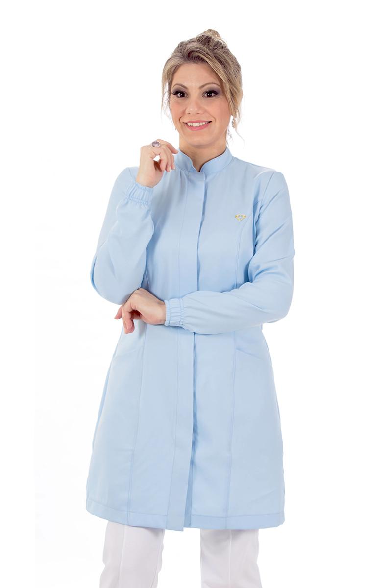 Jaleco feminino gola de padre - Modelo New Colors Azul-Claro  - Inform Jalecos