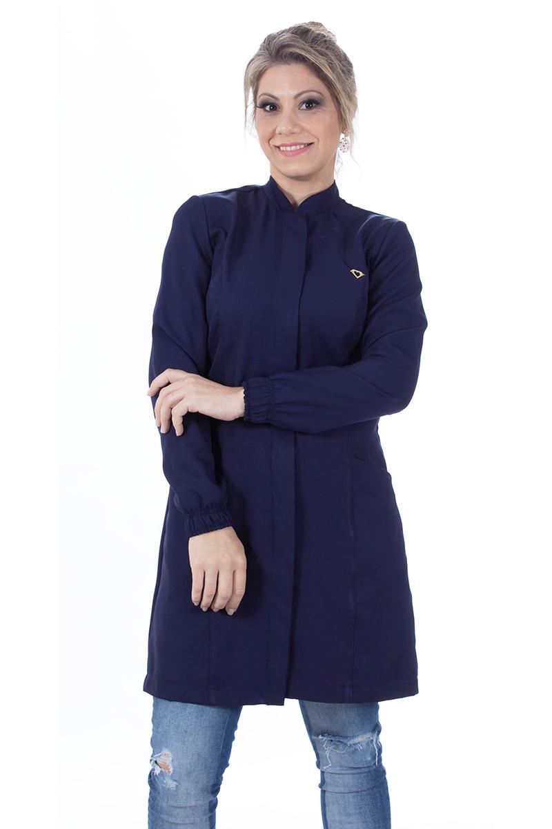 Jaleco feminino gola de padre - Modelo New Colors Azul-Marinho  - Inform Jalecos