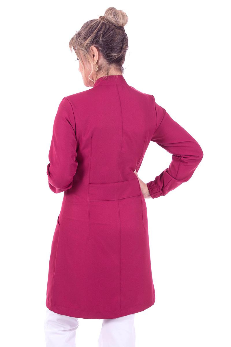Jaleco feminino gola de padre - Modelo New Colors Borgonha  - Inform Jalecos