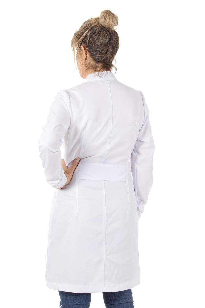 Jaleco feminino gola de padre - Modelo New Colors Branco  - Inform Jalecos