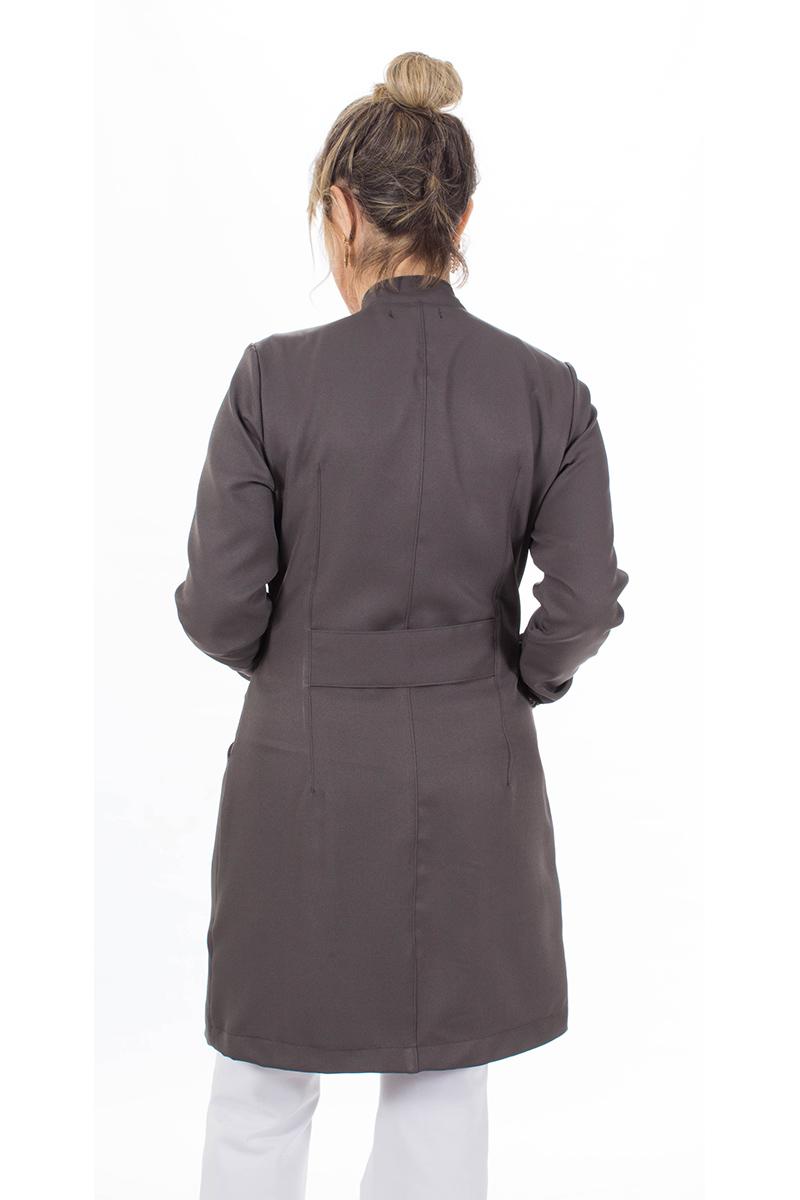 Jaleco feminino gola de padre - Modelo New Colors Cinza Grafite  - Inform Jalecos