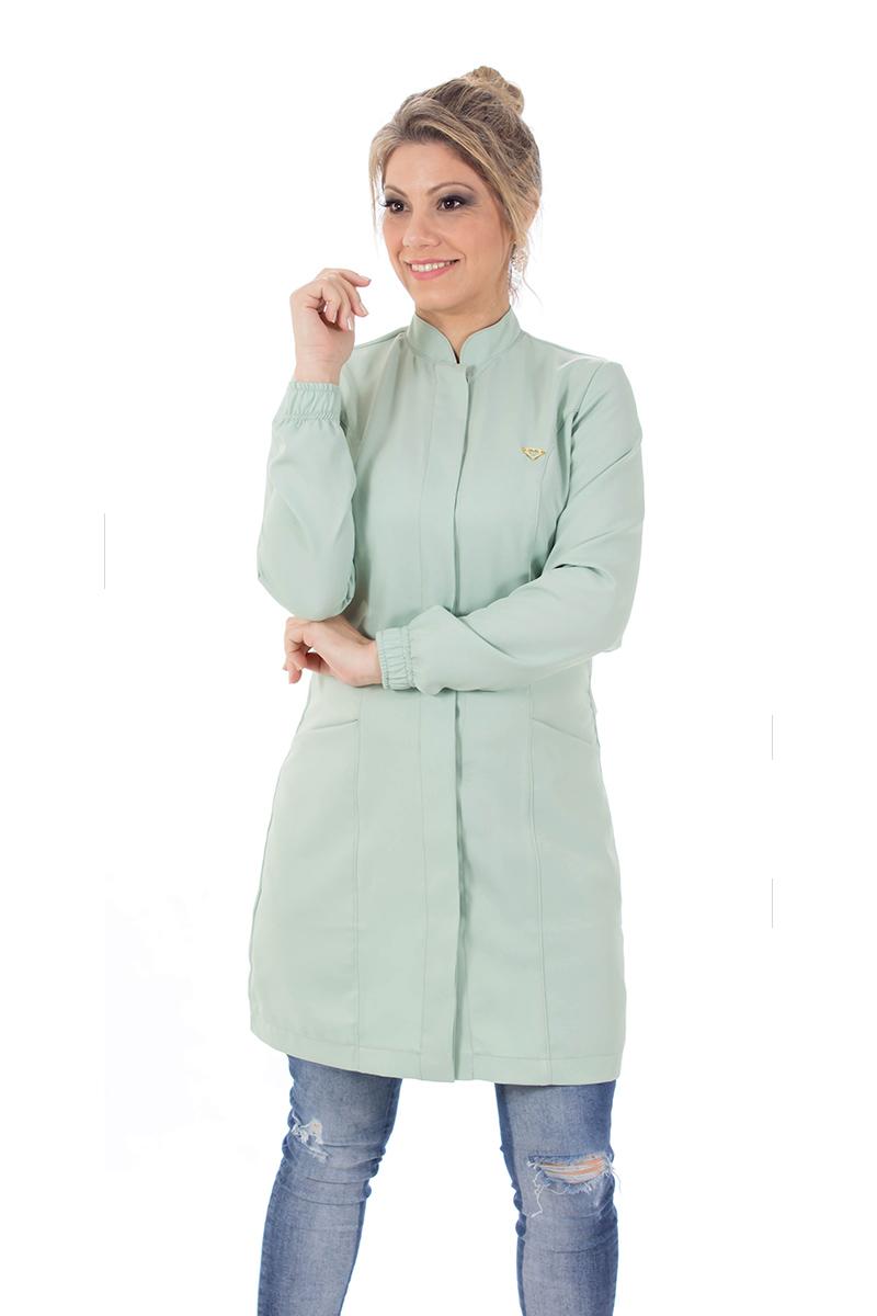 Jaleco feminino gola de padre - Modelo New Colors -Verde-Malva  - Inform Jalecos