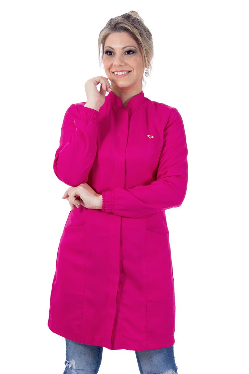 Jaleco feminino gola de padre - Modelo New Colors Pink  - Inform Jalecos