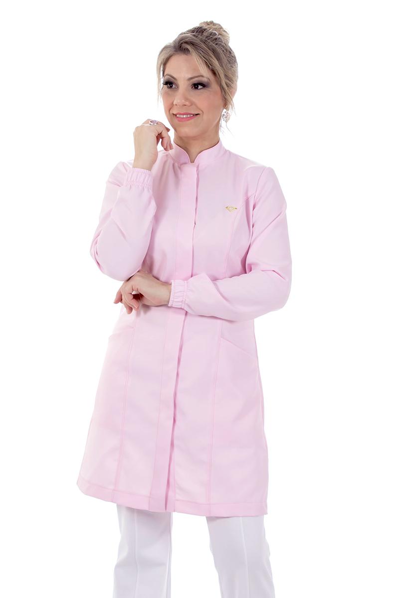 Jaleco feminino gola de padre - Modelo New Colors Rosa Bêbe  - Inform Jalecos