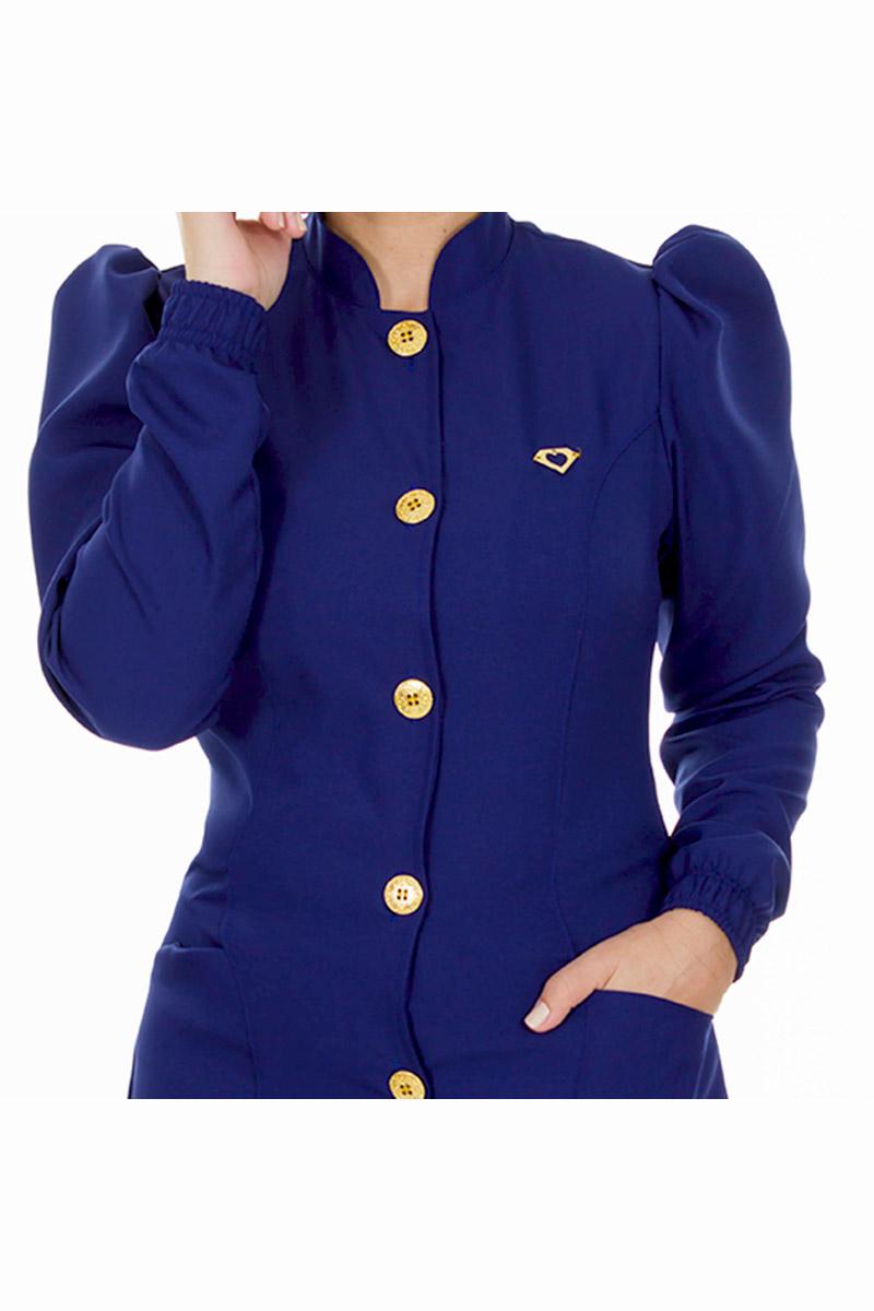 Jaleco feminino gola padre - Modelo Dafiny Azul Navy  - Inform Jalecos