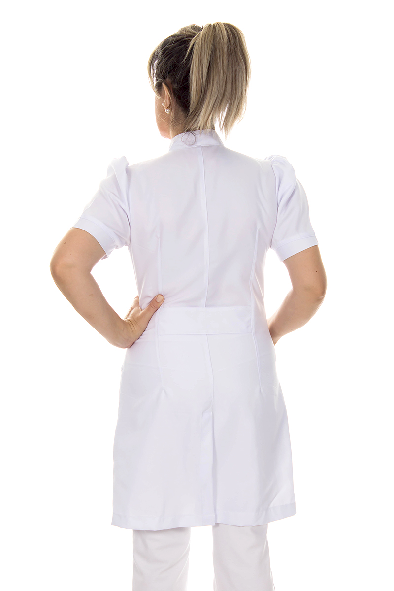 Jaleco feminino manga curta - Modelo Dafiny