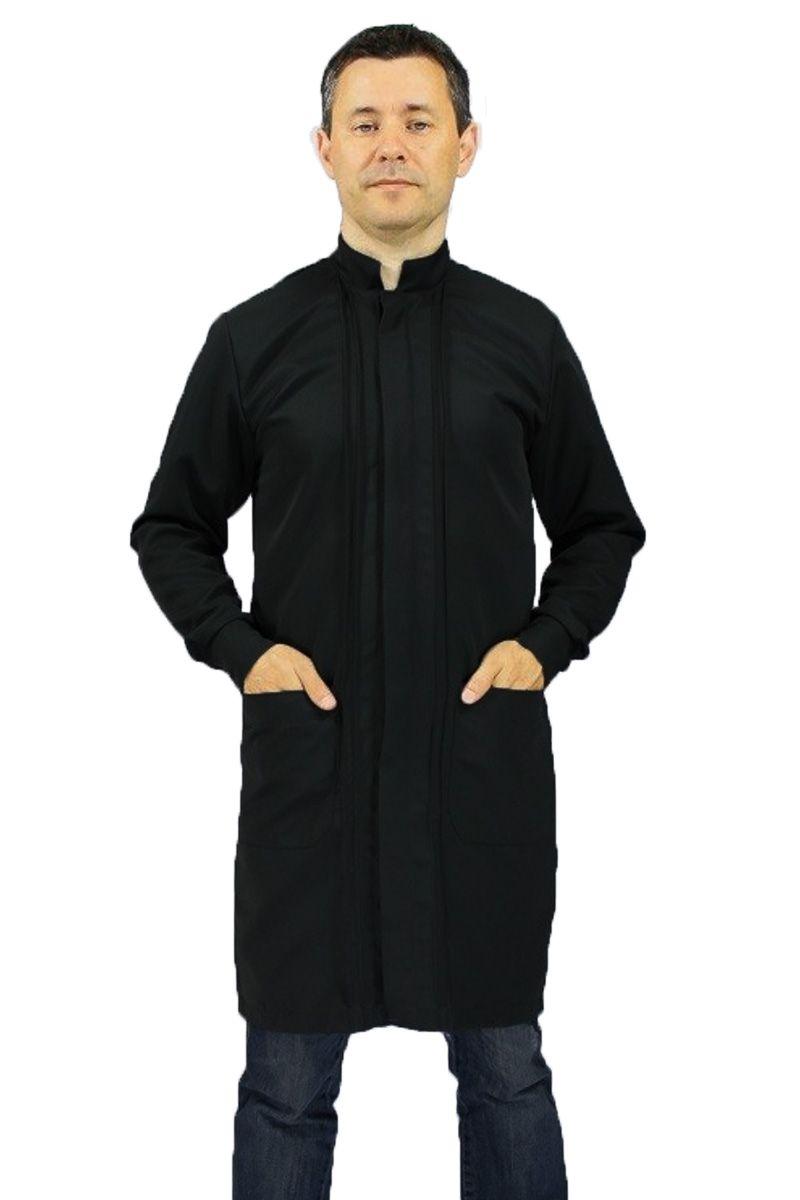 Jaleco masculino com gola de padre - Modelo Omega Preto